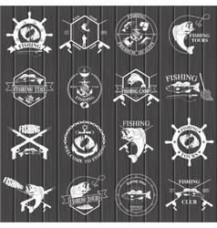 Set of vintage fishing labels badges and design vector image