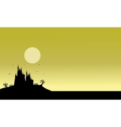 Silhouette of Halloween castle scenery vector image vector image