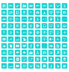 100 database and cloud icons set grunge blue vector image vector image