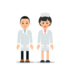 doctor man and woman cartoon male and female vector image
