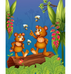 The bees and bear at the forest vector image vector image