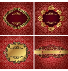 Vintage gold frame on red damask background vector image