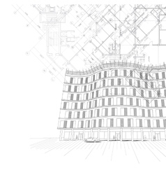 Architectural background with building and plans vector image vector image