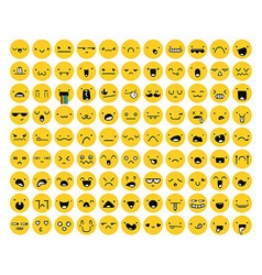 Great set of 99 yellow emotion isolated on white vector image vector image