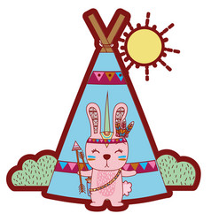 Line color rabbit animal with arrows and camp vector