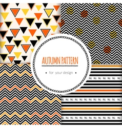 Set with seamless autumn pattern vector image
