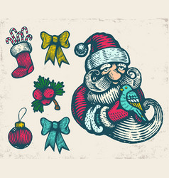 vintage icons for christmas vector image vector image