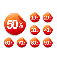 50 off discount sticker set 10-90 off sale tag vector image