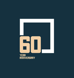 60 year anniversary square template design vector