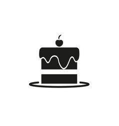 A piece of cheesecake icon with cherry vector