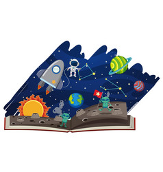 Astronomy book with astronaut and aliens vector