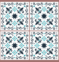 azulejos seamless pattern portuguese tiles vector image
