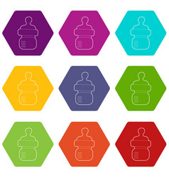 baby bottle with milk icons set 9 vector image