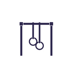 Bar with gymnastics rings icon on white vector