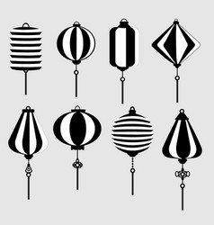 black and white chinese lantern vector image