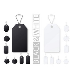 Black and white price tags realistic empty vector