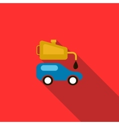 Blue car and oiler icon flat style vector