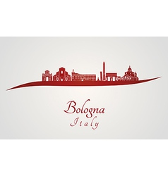 Bologna skyline in red vector image