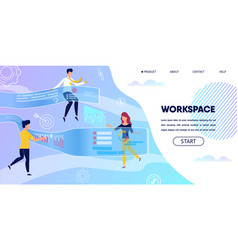 business people workspace with virtual projection vector image