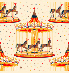 carousel with horses vector image