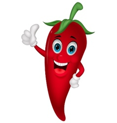 Chili cartoon with thumb up vector image vector image