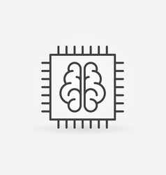 Chip with brain icon in thin line style vector