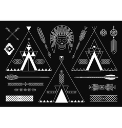 Collection of Native American tribal stylized vector