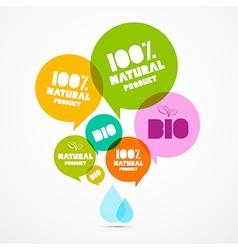Colorful Natural Product Bio Green Labels Set vector