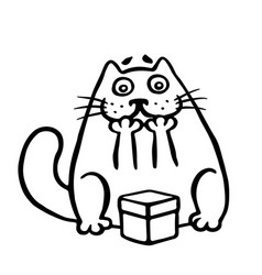cute cat enjoys the gift in the box vector image