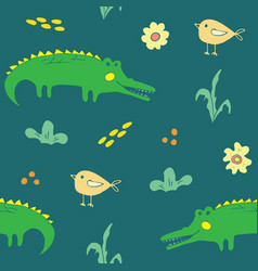 cute crocodile or alligator with little bird vector image