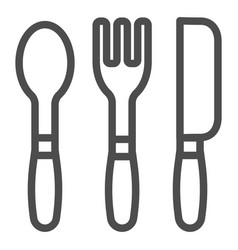 cutlery line icon kitchen tools vector image