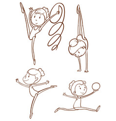 Doodle character for gymnastic players vector
