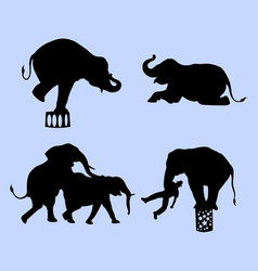 elephant circus animal silhouette vector image