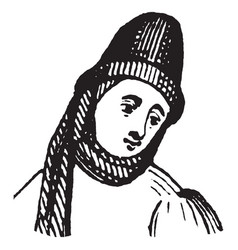 Fashion from 14th century of europe vintage vector