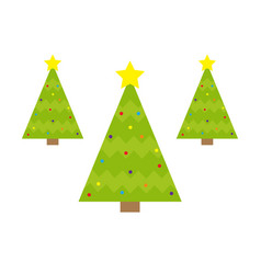Fir-tree icon set yellow star tip top round ball vector