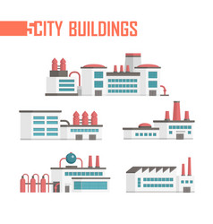 five city industrial buildings set of icons - vector image