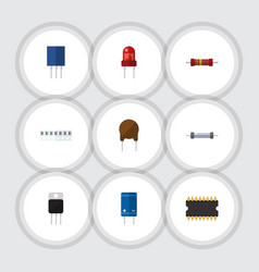 Flat icon technology set of microprocessor vector