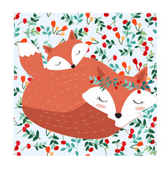 fox mom and baby in seamless pattern adorable vector image