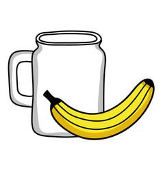 fresh banana fruit with beverage jar vector image