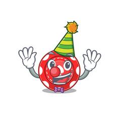 Funny clown gambling chips cartoon character vector