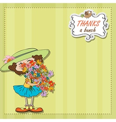 funny girl with a bunch of flowers vector image