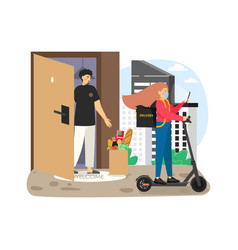 girl courier in mask leaving grocery bag at the vector image