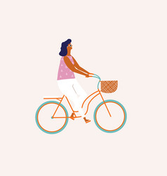 girl riding a bicycle cycling people vector image