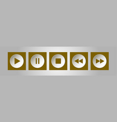 Gold white square music control buttons set vector