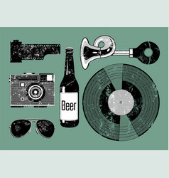 Grunge set of retro things for hipster vector
