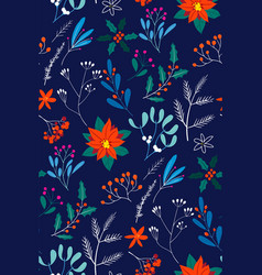 hand drawn floral christmas seamless pattern vector image