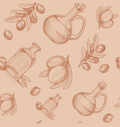 hand drawn olive oil seamless pattern sketch vector image