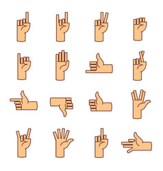 Hands fingers line icons thumb up like dislike vector