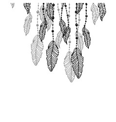 hanging black and grey stylized doodle feathers vector image