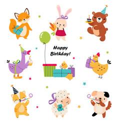 happy birthday concept adorable baanimal vector image